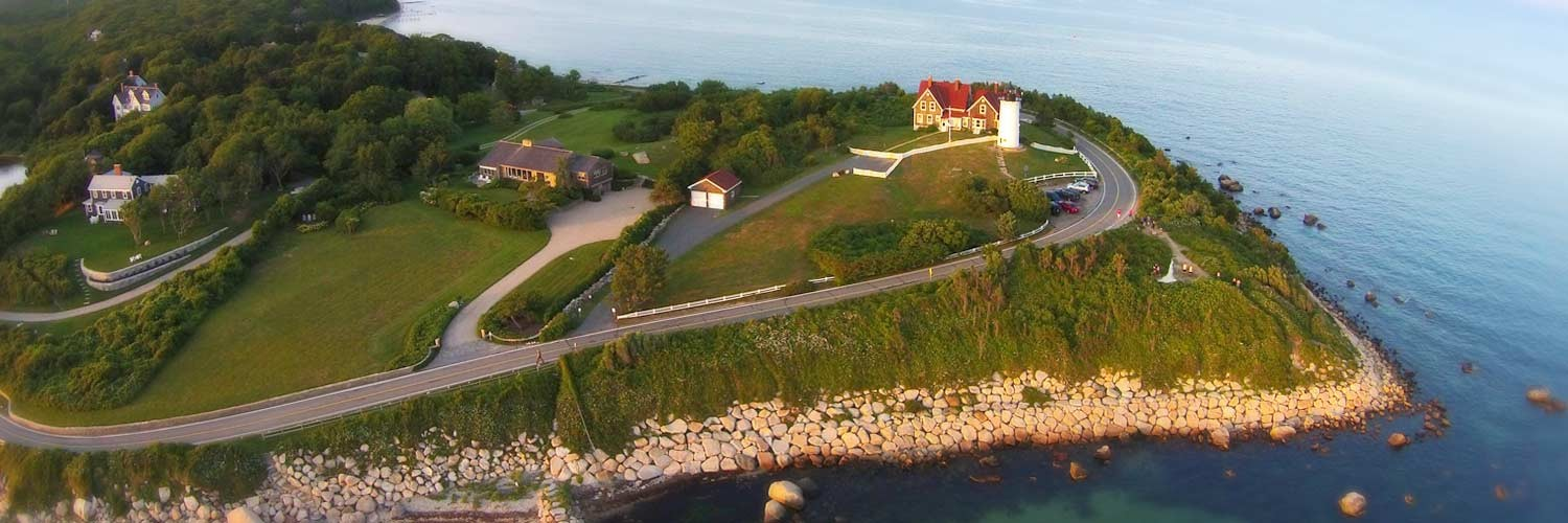 Drone picture of Nobska lighthouse by skyflix
