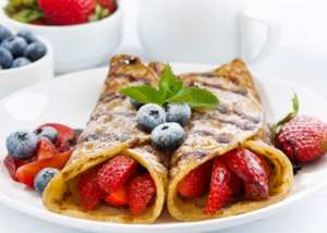 Crepes at the Captains Manor Inn - breakfast during highlight of our stay getaway