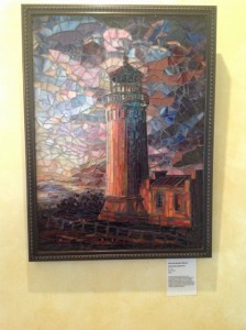 Mosiac lighthouse art at Highfield Hall