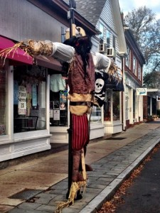 Creative Pirate Scarecrow in front of Bella's on Main Street in Falmouth Village