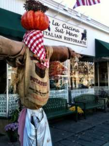 Scarecrow at La Cucina Restaurant iin Falmouth Village of Scarecrows