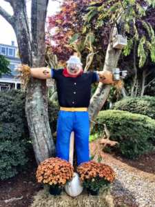 Popeye scarecrow at the Captain's Manor Inn in Falmouth Village of Scarecrows