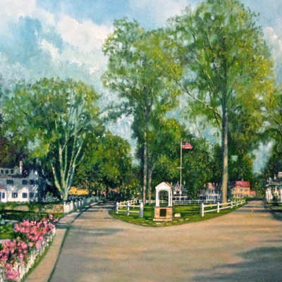 Village Green Giclee Print by Karen Rinaldo