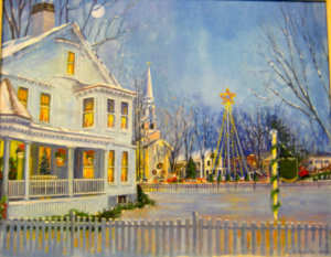 Falmouth Village Green Holiday during the day as painted by Karen Rinaldo