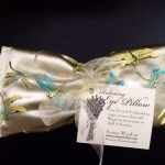 lavender eye mask in dragonfly silk pattern