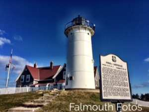 Nobka lighthouse on sunny day as featured in top ten cultural hotels in cape cod blog