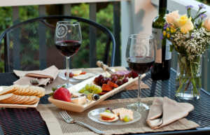 wine and cheese on the porch for mothers day getaway