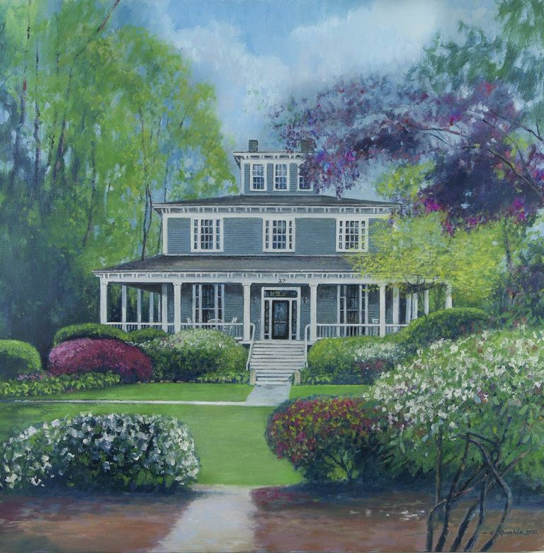The Captain's Manor Inn captured in a color giclee print.