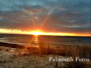 a sunrise from surf drive beach in falmouth ma