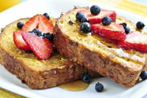 This delicious french toast breakfast is offered at The Captain's Manor Inn so be sure to book your stay.