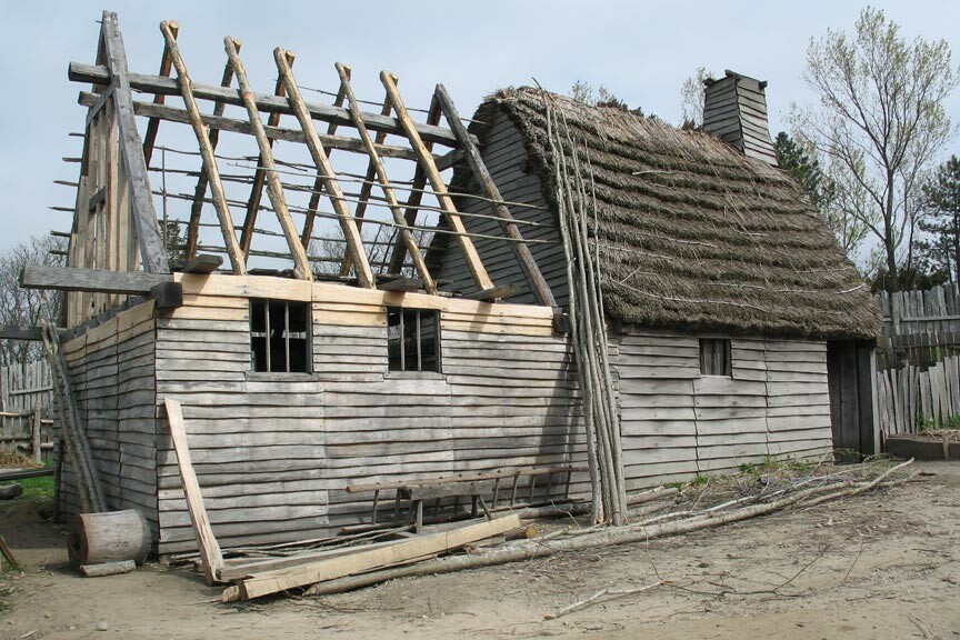 house under construction at Plimoth Plantation