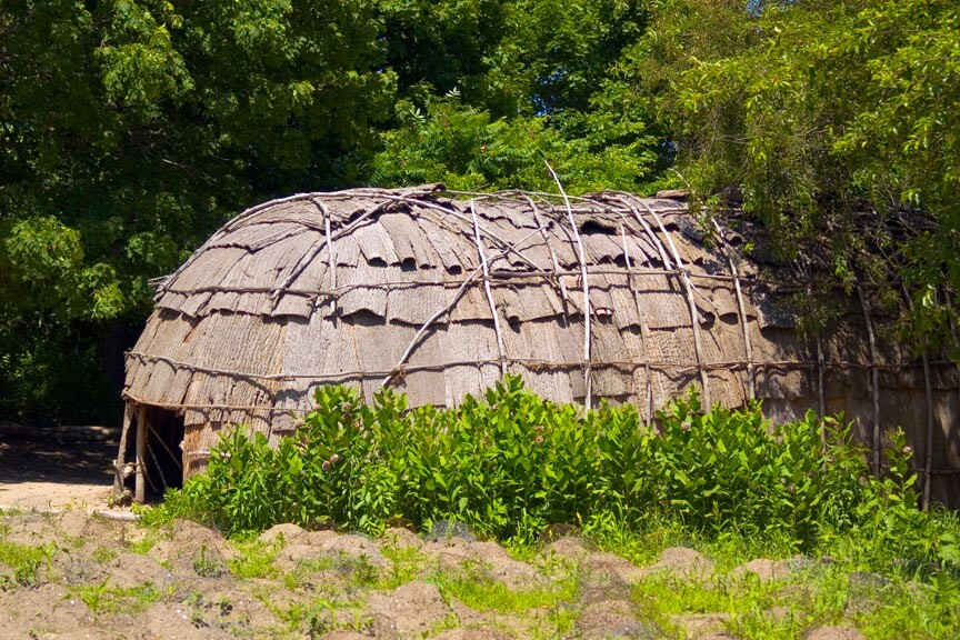 a Wampanoag wetu at Plimoth Plantation